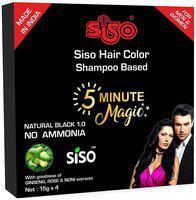 Siso 5 min Hair Color shampoo - BLACK (16 Nos x 15g)