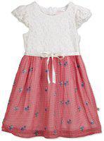 Budding Bees Girls Midi/Knee Length Casual Dress(Red, Cap Sleeve)