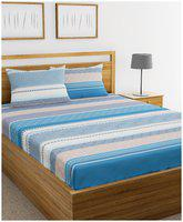BIANCA Cotton Abstract King Bedsheet ( 1 Bedsheet with 2 Pillow Covers , Multi )