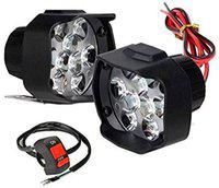 Bigzoom Shilon 9LED 16W Anti-Fog Spot Light Auxiliary Headlight with Switch (Pack of-2) for TVS Scooty ES