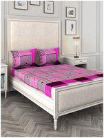 ROMEE Cotton 3D Printed Queen Size Bedsheet 144 TC ( 1 Bedsheet With 2 Pillow Covers , Purple )
