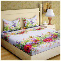 Paramorasi Microfiber Printed Double Bedsheet ( 1 Bedsheet with 2 Pillow Covers , Multi )