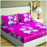 Paramorasi Microfiber Printed Double Bedsheet ( 1 Bedsheet with 2 Pillow Covers , Purple & White )