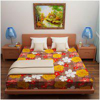 Glassiano Cotton Printed Queen Size Bedsheet ( 1 Bedsheet Without Pillow Covers , Multi )