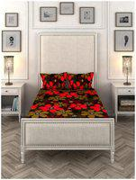 ROMEE Cotton Floral Single Size Bedsheet 144 TC ( 1 Bedsheet With 2 Pillow Covers , Multi )