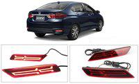 Car Reflector Led Brake Light Bumper(Rear/Back) Drl Compatible with Honda City 2017-2018 Arrow Design (with Brake Light Function)- Set of 2 Pcs with Wiring