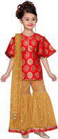 Adiva Girl's Brocade Self design Short sleeves Kurti & salwar set - Red & Yellow