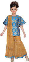Adiva Kids Party Wear Firozi Color Kurta and Palazzo Set For Girls (G_1020_FIROZI_24)