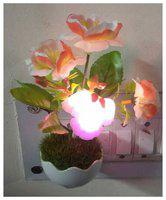 Energy Saving Colour Changing Automatic Sensor Mushroom Shaped Night Lamp with green grass