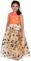 Pikaboo Orange & Yellow Organza Lehenga and Buttoned Top Set (18-24 Months)