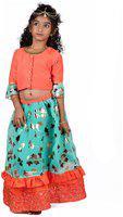 Pikaboo Girls Lehenga Choli Ethnic Wear Printed Lehenga Choli(Orange, Pack of 1)