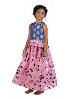 Pikaboo Blue & Pink Organza Lehenga and Buttoned Top Set (18-24 Months)