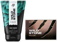 Wild Stone Edge Face Wash (100 ml) and Musk Soap (125 g) For Men, Pack of 2