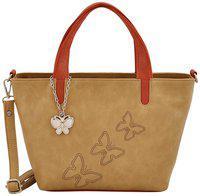 Butterflies Women Hand Bag With Wallet Combo (Beige,Tan) (BNS WB0734) (Set of 2)
