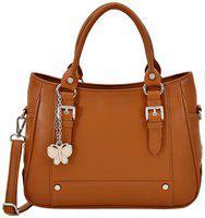 (butterflies Women Stylish And Modern Handbag (tan) (bns 0720tn)