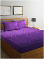 BIANCA Cotton Abstract King Bedsheet ( 1 Bedsheet with 2 Pillow Covers , Purple )
