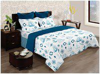 BIANCA Cotton Printed Double Bedsheet ( 1 Bedsheet with 2 Pillow Covers , White )
