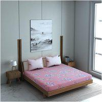 Welhome Microfiber Floral Double Size Bedsheet 150 TC ( 1 Bedsheet With 2 Pillow Covers , Pink )