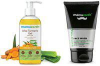 Mamaearth Aloe Vera Gel 300 ml and Men's Refresh Oil Control SLS and Paraben-Less Facewash 100 ml (Pack of 2)