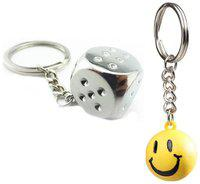 I-Gadgets Dice Metal Keychain And Get Free Smiley Ball Keychain