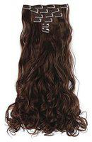 Maahal 6Pcs 14 Clips 24-26 Inch Curly or Wavy Full Head Clip In On Hair Extensions Women Lady Hairpiece (Black)
