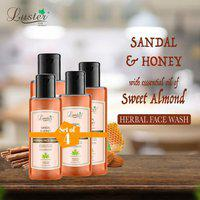 Luster Sandal & Honey (Sweet Almond) Herbal Face Wash 110ml (Pack of 4)