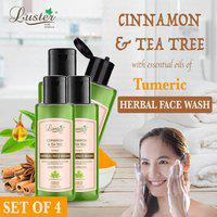 Luster Cinnamon & Tea Tree (Turmeric) Herbal Face Wash 110ml (Pack of 4)