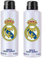 Real Madrid White Deodorant Body Spray For Men- Pack Of 2 (200ml Each)
