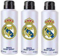 Real Madrid White Deodorant Body Spray For Men- Pack Of 3 (200ml Each)