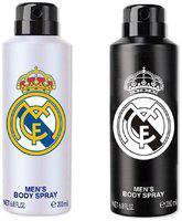 Real Madrid White & Black Deodorant Body Spray For Men- Pack Of 2 (200ml Each)