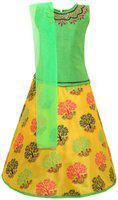 Aarika Girl's silk Lehenga Choli (LCH-18957_Green_10-11 Years)