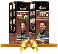VCare Shampoo Hair Color, Brown, 180 ml, (Pack Of 2)