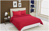 SKY TEX Cotton Striped Double Bedsheet ( 1 Bedsheet with 2 Pillow Covers , Maroon )