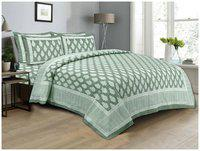AR Cotton Printed King Size Bedsheet ( 1 Bedsheet With 2 Pillow Covers , Green )