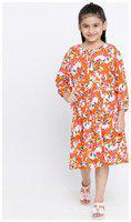 oxolloxo Girl's Viscose Long Sleeve Floral Print Dress (Orange_11-12 Years)