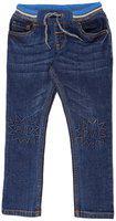 Pantaloons Junior Cotton Blend Solid Distressed For Boy Color Blue