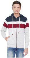 OKANE Men's Polyester Stripped Ecru Long Sleeve Zipper Hodded Neck Medium Size Jacket