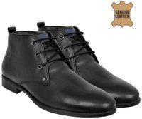 Allen Cooper Men Black Solid Mid-top Genuine Leather Formal Derbys