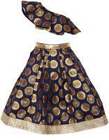 Pikaboo Girls Lehenga Choli Ethnic Wear Solid Lehenga Choli(Blue, Pack of 1)