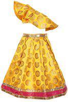 Pikaboo Girls Lehenga Choli Ethnic Wear Solid Lehenga Choli(Yellow, Pack of 1)
