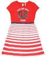Pantaloons Junior Red Cotton Short Sleeves Knee Length Princess Frock ( Pack of 1 )