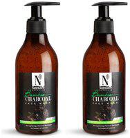 NutriGlow Natural's Bamboo & Charcoal Face Wash With Bamboo Charcoal Powder, Sandal Wood With Tea Tree 300 ml (Pack of 2)