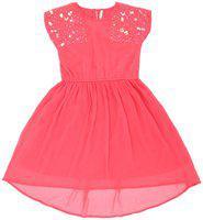Pantaloons Junior Pink Polyester Short Sleeves Knee Length Princess Frock ( Pack of 1 )