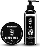 The Real Man Beard Balm and Conditioner (50 g) And 2 in 1 Beard & Face Wash 200ml