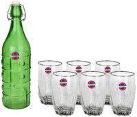 Somil Glass Green Water Bottle ( 1000 ml , Set of 7 )