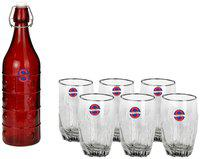 Somil Glass Red & Transparent Water Bottle ( 1000 ml , Set of 7 )