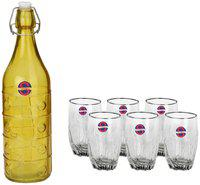 Somil Glass Yellow & Transparent Water Bottle ( 1000 ml , Set of 7 )