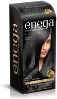 Enega Cream Hair Color with Argan Oil & Green Tea Extract No Ammonia Cream Formula Smooth Care For Your Precious Hair Natural Black (Pack Of 1)- 150ml