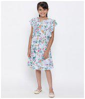 oxolloxo Girl's Round Neck Viscose Floral Knee Length Dress (Multi-Coloured_11-12 Years)