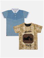 Li'l Tomatoes Boy Cotton Printed T-shirt - Brown & Blue